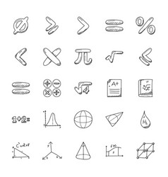 Pack of mathematics doodle icons vector