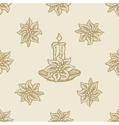 Poinsettia christmas flower candle pattern vector
