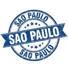Sao paulo blue round grunge vintage ribbon stamp vector
