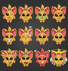 Set cute cartoon fantastic animal like a cat with vector image