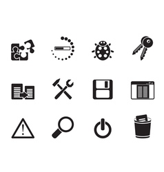 Silhouette programming and application icons vector