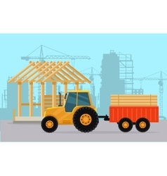 Tractor Construction Process of Building House vector image vector image