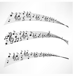 various music notes on stave vector image