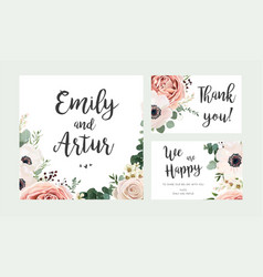 Wedding invitation floral invite card design vector