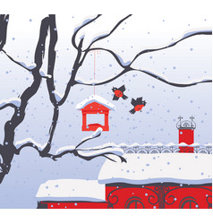 winter cityscape with snow-covered roof and birds vector image vector image