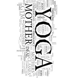 Yoga for mothers text word cloud concept vector