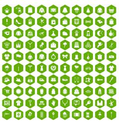 100 dress icons hexagon green vector