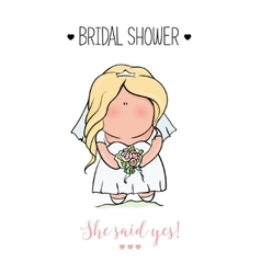 Doodle character cute bride romantic vector