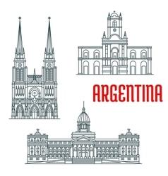 Argentina famous buildings facades vector