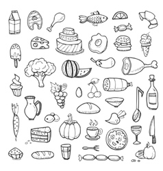 Vegetables drinks snacks fast food doodle vector image