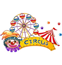 A clown with a circus signage and a ferris wheel vector
