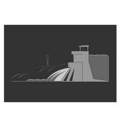 Hydroelectric power plant vector