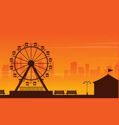 Amusement park landscape at sunset vector