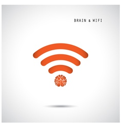 Creative brain concept and wifi sign vector