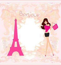 Beautiful women shopping in paris - card vector