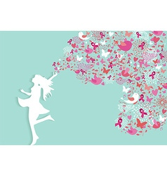 Breast cancer healthy woman silhouette pink ribbon vector