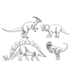 Dinosaurs set hand drawn vector