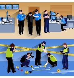 Working policeman people horizontal banners vector