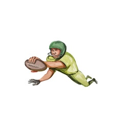 American football player touchdown caricature vector