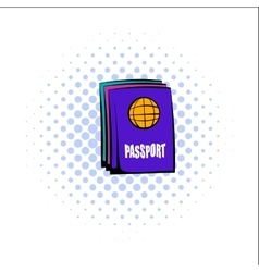 Passport comics icon vector