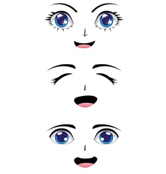 Cute stylized faces vector
