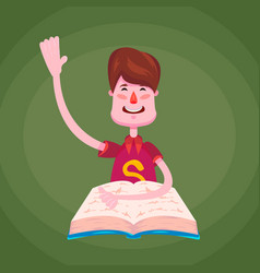 a brunette schoolboy a student sits behind a book vector image vector image