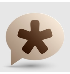 Asterisk star sign brown gradient icon on bubble vector