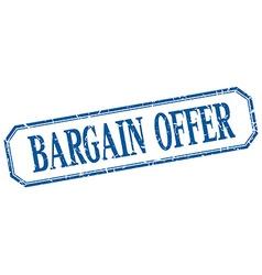Bargain offer square blue grunge vintage isolated vector