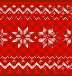Beautiful knitted red jacquard seamless pattern vector