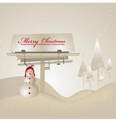 billboard with snowman vector image vector image