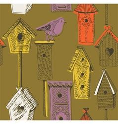 Birdhouse screenprint vector