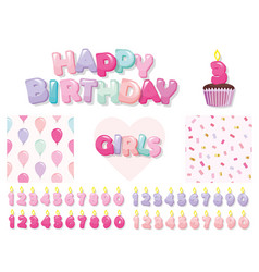Birthday design elements set for girls included vector