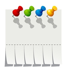 blank advertisement paper with push pins vector image