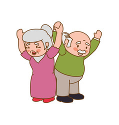 Couple elder adults gesture vector