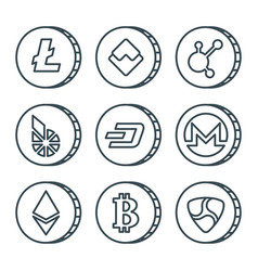 Cryptocurrency black outline icon set isolated vector