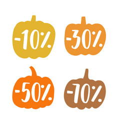 Cute small pumpkins sale badges vector