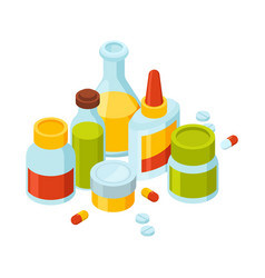 different bottles with pills and drugs vector image vector image