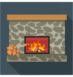 Digital fireplace room with burning wood vector