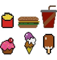 Fast food in pixel-art style vector