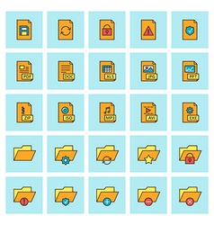 Files and folders icon set in flat design style vector