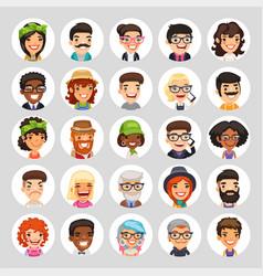 flat cartoon round avatars on white vector image vector image