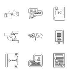 Foreign language icons set outline style vector