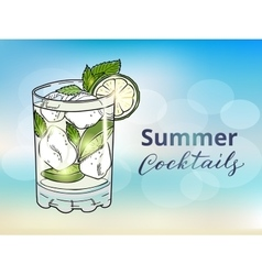 Hand drawn mojito cocktail on a blurred vector
