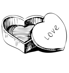 Heart shaped box vector image vector image