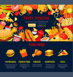 Landing page template fast food web site vector