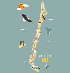 map of chile with destinations animals landmarks vector image vector image