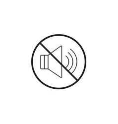 no noise line icon no sound prohibited sign vector image vector image