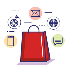 paper bag gift shopping online internet concept vector image vector image