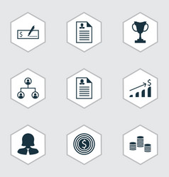 Set of 9 hr icons includes bank payment business vector
