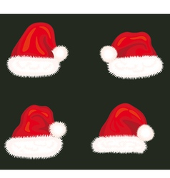 Set of holiday hats of Santa Claus vector image